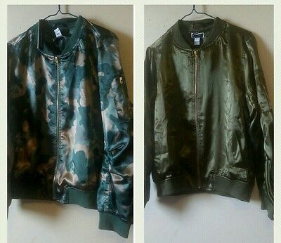 LOT 2 Women Bomber Baseball Collar Jackets Olive & Army Satin lightweight coat L