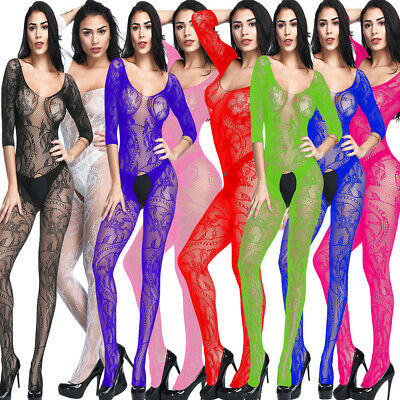 Colorful Sexy-Womens-Lingerie-Floral-Body stocking-Dress-Sleepwear-Club-Babydoll