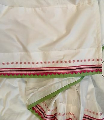 Pottery Barn Kids Pink Green White Crib Skirt Dust Ruffle Excellent Condition