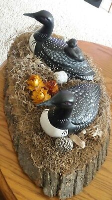 Wooden Loons Hand Carved Hand Painted Nesting on Tree Bark