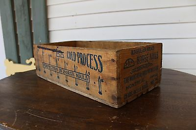 Antique Vintage Horse Nails Wooden Crate Box Montreal Rolling Mills Co. Canada