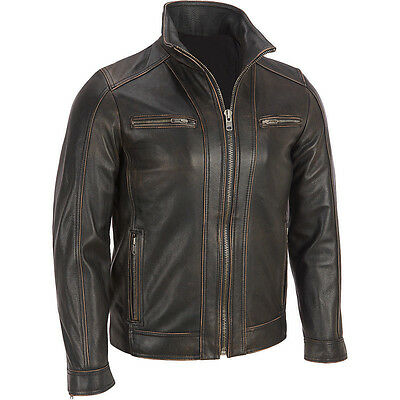 Brand New Men's Black Rivet Leather Faded-Seam Jacket Genuine Leather - ALL SIZE