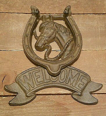 Cast Iron Vintage HORSE HEAD WELCOME Door Knocker Rustic Western HORSESHOE
