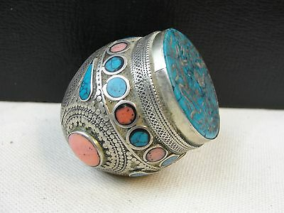 Large Silver Afghan Wax Seal Signet Ring Carved Turquoise w/ Pink stone Inlay