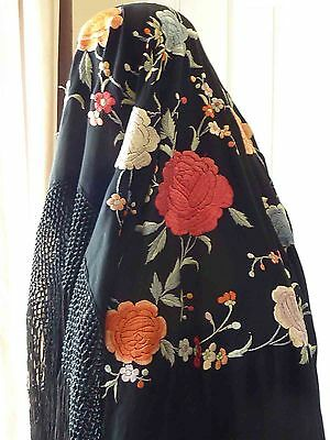 Chinese Vintage Black Silk Piano Shawl, Canton embroidery