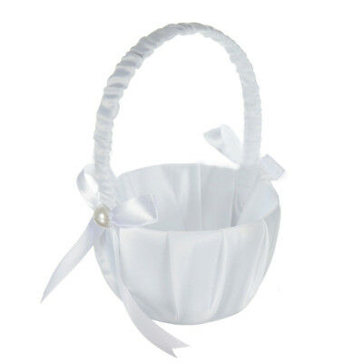 Romantic White Satin Bowknot PEARL Flower Girl Basket Wedding Ceremony Part F5U1