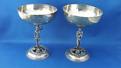 Adam & Eve Vintage Toasting Cups / Gobblets Alpa Dur Spain Silverplate