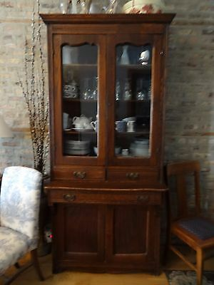 Antique tall oak cupboard with original hardware and finish