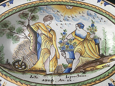 Plat à décor de saisons Eté Printemps Faience Centre de la France Nevers ? 1804