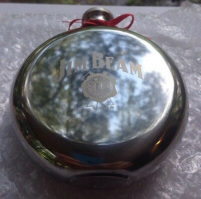 Jim Beam New In Plastic Stainless Steel Flask Whiskey 5 oz Rare! Can't Be Bought