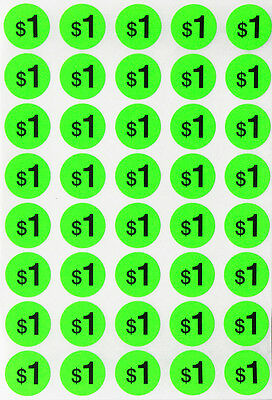 """Price Label Round Dots ¾"""" Neon Green Preprinted Sticker Labels 19 mm 440 Pack"""