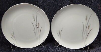 """TWO Fine China of Japan Platinum Wheat Dinner Plates 10 1/4"""" (Set of 2) NICE!"""