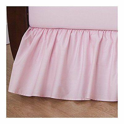 TL Care 100% Cotton Percale Crib Bed Skirt, Pink