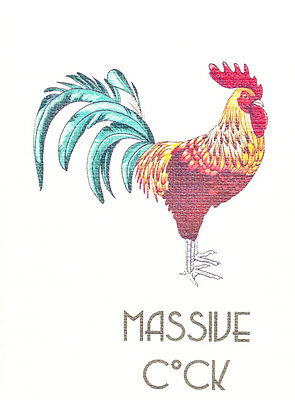 2 x Massive cock blank mini card 8 x 6 cm colourful proud loud naughty notes