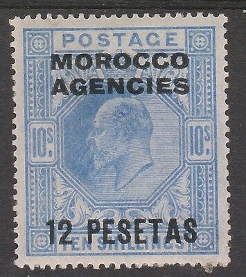 Morocco Agencies Spanish Currency 1907 Kevii 12 Pesetas On 10/-