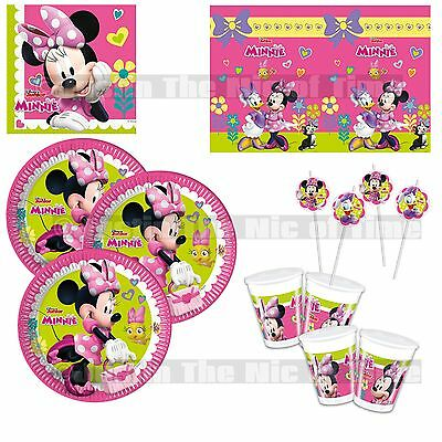 MINNIE MOUSE GIRLS PINK Birthday Party Tableware Plates Cups Napkins Tablecover