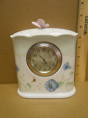 """LENOX  '"""" BUTTERFLY MEADOW """"' Table Clock battery operated euc"""