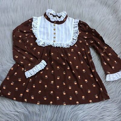 Vintage 70s Brown Floral White Lace 70s Youngland Toddler Dress Thanksgiving
