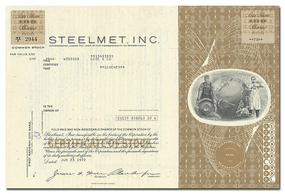 Steelmet, Inc. Stock Certificate