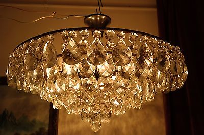 Antique HUGE Plafoniere French Basket Style Crystal Chandelier Lamp 1940's 24in.