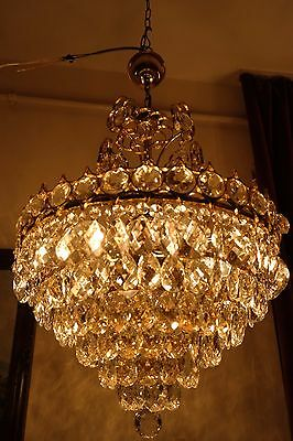 Antique Vintage French Basket  Style Crystal Chandelier Lamp Light 1950's.17 in