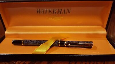 "NEW  WATERMAN Paris ""IDEAL"" Blue Marble  Rollerball Pen ~ New in Box"