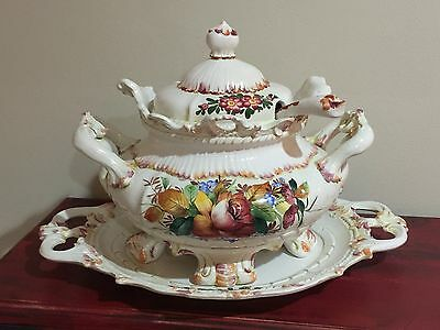 Italy Deruta majolica ceramic footed compote soup tureen tray platter ladle MINT