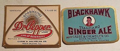 2 Carse & Ohlwiler Co. Labels, Dr.pepper & Ginger Ale