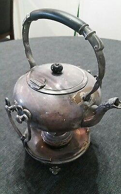 Vintage Ornate Silverplate Teapot Tea Pot/Burner Heater and Stand with Hallmarks