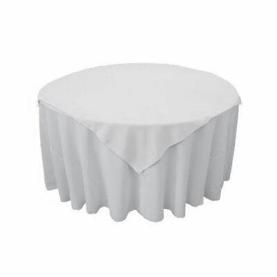 5x White Square Overlay 90x90cm 100% Jet Spun Polyester Table Linen OVERLAY ONLY