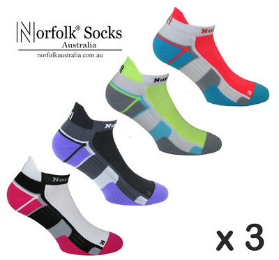3 X Norfolk Womens Running Socks, Ankle Length, Cushioned - Joyner