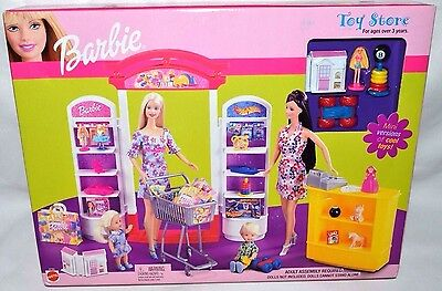Nib-Rare 2002 Barbie Toy Store Playset-Lots Of Toys!-Counter & Register+ Shelves