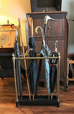 Antique Victorian Brass Umbrella Cane Stand with Heavy Cast Iron Base 6 Sections