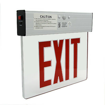 Red LED Emergency Exit Light Sign Ceiling Edge Lit Battery Backup Alum. Dual