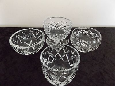 4 x  ASSORTED SMALL CRYSTAL  BOWLS