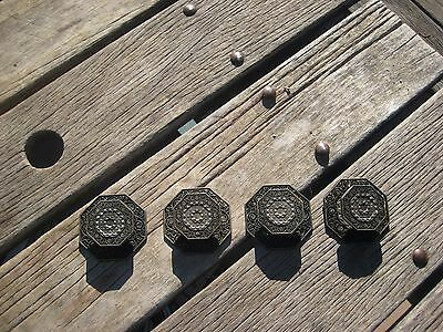 Vintage * TOYO * Ornate Brass Drawer Cabinet Knob with Backplate Set of 4 JAPAN