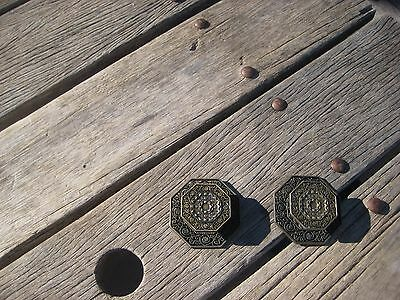 Vintage * TOYO * Ornate Brass Drawer Cabinet Knob with Backplate Set of 2 JAPAN