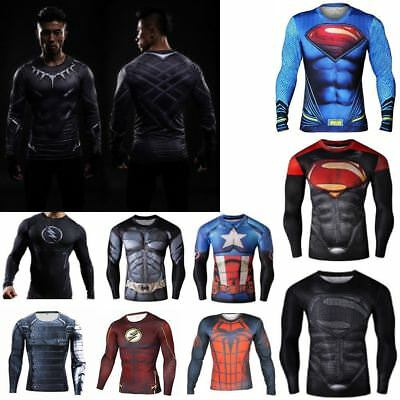 Marvel DC Comic Men's Compression Long Sleeve Fitness Workout Base Layer Shirt