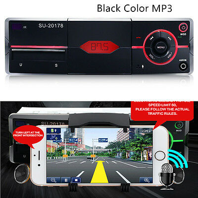 Bluetooth 1Din Car Audio Stereo Lossless Sound MP3 Player Radio  w/ Phone Holder