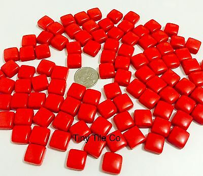 100 pcs Red Glass Mosaic Tiles