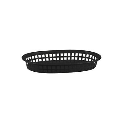 12 x Black Plastic Bread Basket, Large Oval, Burgers / Fries / Cafe / Diner