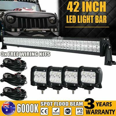 42Inch 560W PHILIPS Led  Light Bar + 4x 4inch 30W  Spot Flood Combo Offroad 4WD