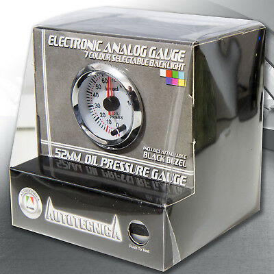 Autotecnica Oil Pressure Gauge 52mm Electric Analog Gauge 7 Multi Colour
