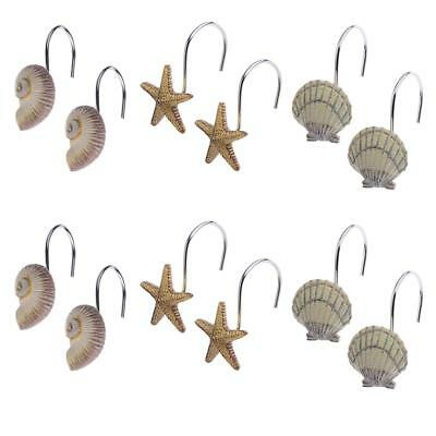 Conch Shell Starfish Mediterranean Bathroom Shower Curtain Ring Hook 12Pcs