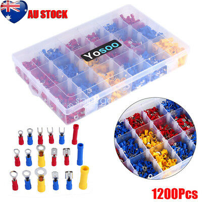 Assorted Insulated Electrical Wire Terminal Crimp Connector Spade Set Kit 1200X