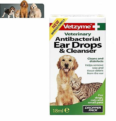 Vetzyme Antibacterial Ear Drops & Cleanser Cat & Dog Ear Cleaner 18ml
