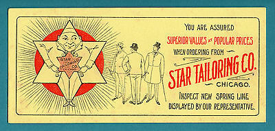"""STAR TAILORING CO. (Chicago) Unused Blotter - 4""""x8¾"""", c1910,  Great Cond"""