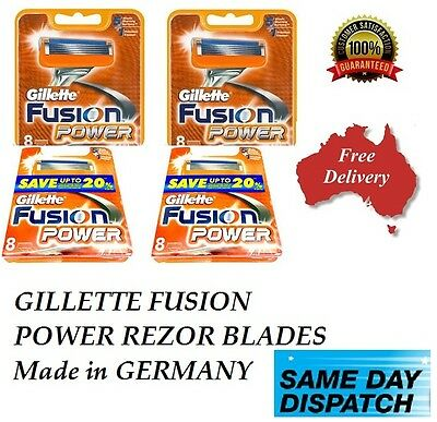 GILLETTE FUSION  POWER REZOR BLADES  Made in GERMANY 8 & 16 & 24 & 32 40