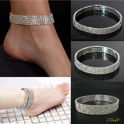 Stretchy 1-5 Rows Anklet Diamante Rhinestones Silver Chain Ankle Bracelet Foot