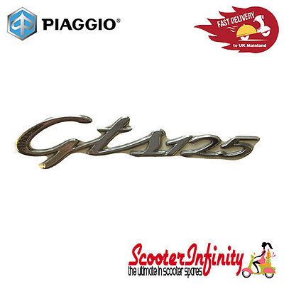 Badge Sidepanel Vespa GTS 125 (chrome, fixation: adhesive,  115x27 mm)